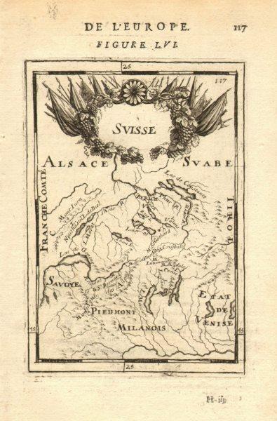 Associate Product SWITZERLAND SUISSE SCHWEIZ rivers lakes Rhone Rhine Savoie Alps. MALLET 1683 map