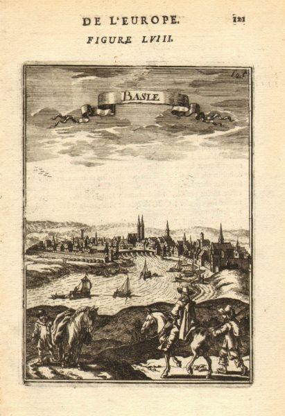 Associate Product BASEL BASEL decorative city view river Switzerland Suisse Schweiz. MALLET 1683