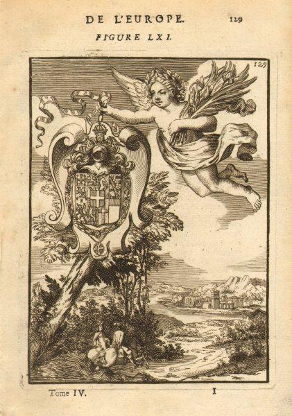 SAVOIE. Ducs de Savoie. Coat of arms. Dukes of Savoy. MALLET 1683 old print