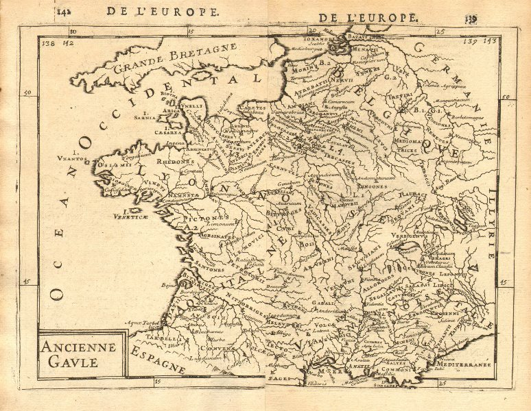 Associate Product ANCIENT GAUL Gallic tribes Roman towns 'Ancienne Gaule' France. MALLET 1683 map