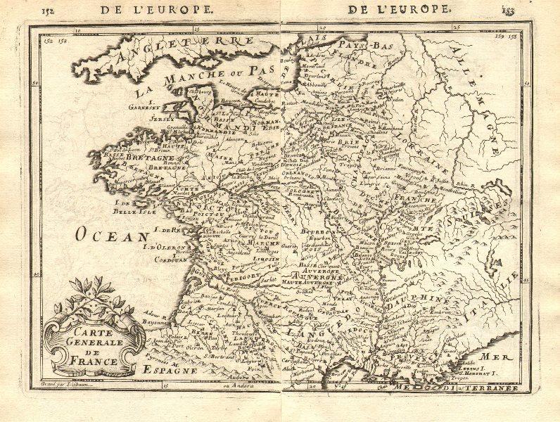 Associate Product 'CARTE GENERALE DE FRANCE' showing towns, rivers & provinces. MALLET 1683 map