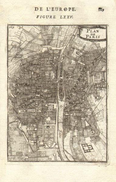 PARIS. Town city plan. 'Plan de Paris'. Decorative. MALLET 1683 old map