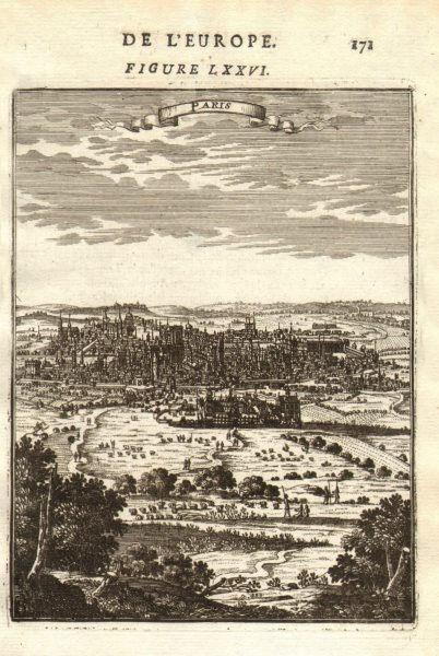 Associate Product PARIS. Decorative view of the city of Paris. MALLET 1683 old antique print