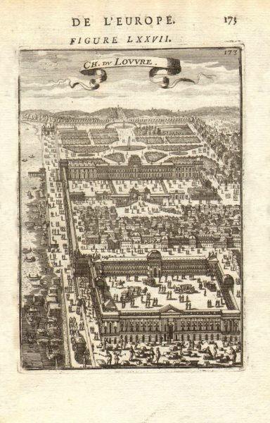 Associate Product CHATEAU DU LOUVRE. Decorative view. Paris. River boats carriages. MALLET 1683
