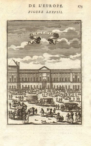 Associate Product LOUVRE. 'Face du Louvre', Paris. Façade. Carriages. Market. figures. MALLET 1683