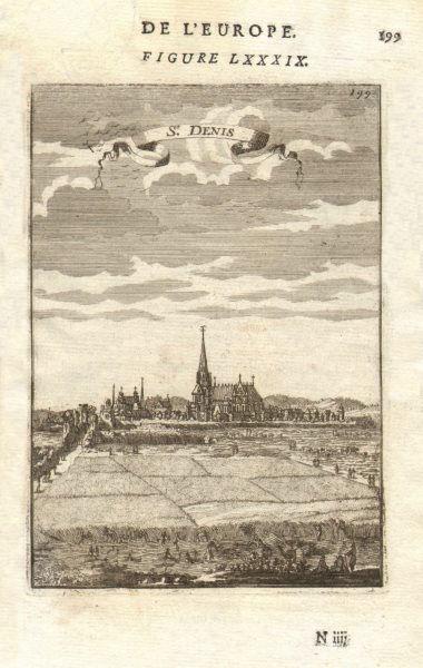 Associate Product ST DENIS, PARIS. Decorative view of the town. Church. Harvest. MALLET 1683