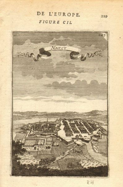 Associate Product NANCY. View of the town & fortifications. Meurthe-et-Moselle. MALLET 1683 map