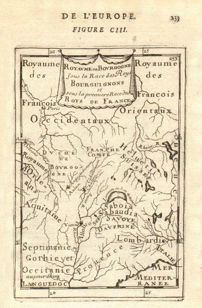 Associate Product 1ST KINGDOM OF BURGUNDY. 'Royaume de Bourgogne'. Lake Geneva. MALLET 1683 map