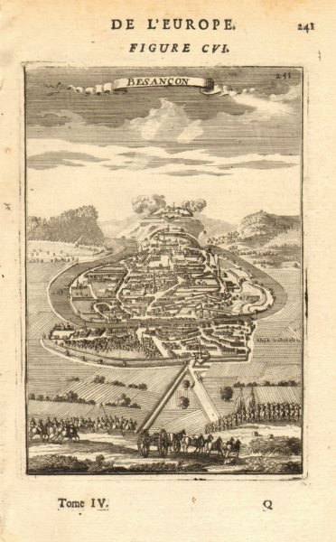 Associate Product BESANÇON. View of the town & fortifications of Besancon. Doubs. MALLET 1683 map