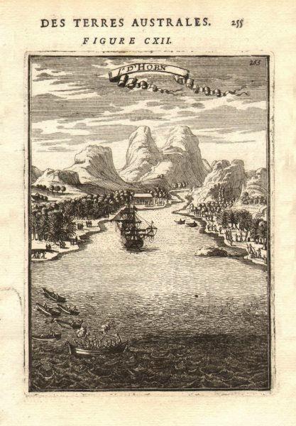 Associate Product HOORN ISLANDS Futuna Galleon Boatmen shooting natives 'Isle d'Horn'. MALLET 1683