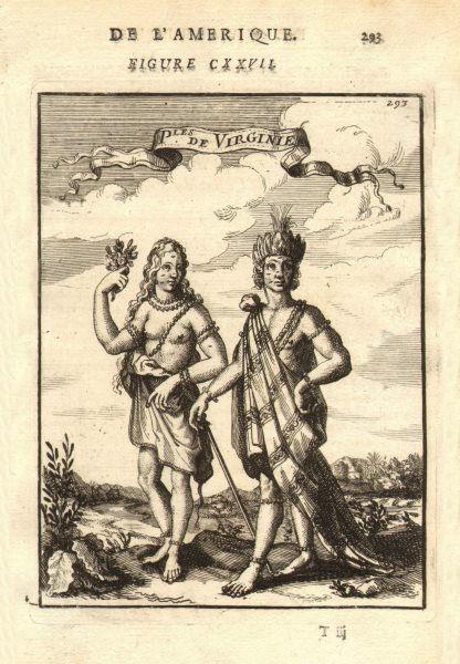 Associate Product VIRGINIA. Native American map & woman. 'Peuples de Virginie'. MALLET 1683