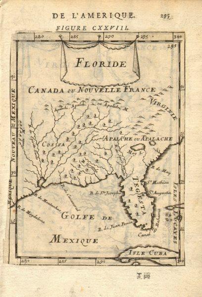 Associate Product SE USA. Florida as'Tegesta', Mississippi River 'Spiritu Santo'. MALLET 1683 map