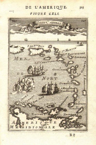 Associate Product WEST INDIES Caribbean Windward Leeward Islands Barbados Pirates? MALLET 1683 map