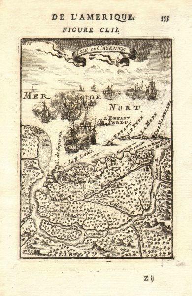 Associate Product FRENCH GUIANA GUYANE. Cayenne. Fort St Louis. Naval battle. MALLET 1683 map