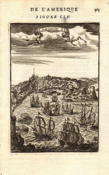 Associate Product SÃO SALVADOR DA BAHIA. Decorative. Capital of colonial Brazil. MALLET 1683