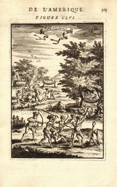 Associate Product BRAZIL. Amerindians. Bows & arrows. Heads on stakes. 'Bresiliens'. MALLET 1683