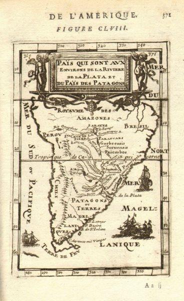 Associate Product SOUTH AMERICA. La Plata. Brazil Peru Chile Patagonia Tribes. MALLET 1683 map