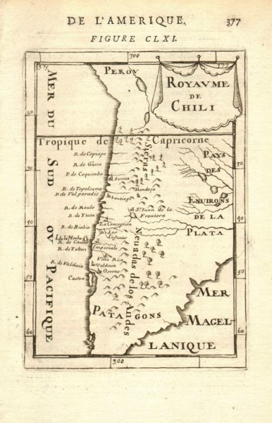 Associate Product KINGDOM OF CHILE. Rivers & towns. Santiago Serena Concepcion. MALLET 1683 map