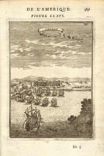 Associate Product CALLAO. View of the fortified town & port. Lima, Peru. Many ships. MALLET 1683
