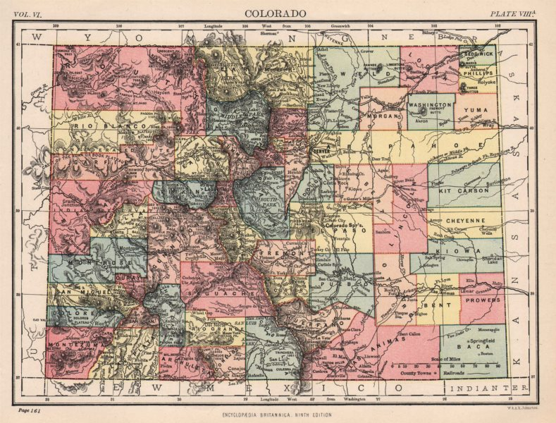 Associate Product COLORADO. State map showing counties. Denver. Britannica 9th edition. 1898