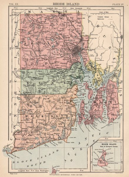Associate Product RHODE ISLAND. State map showing counties & railroads. Providence. 1898 old