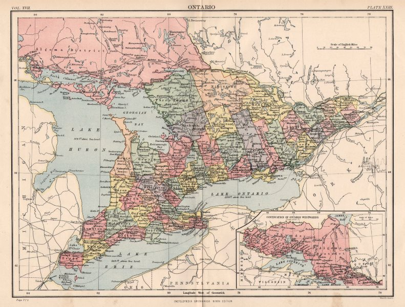 Associate Product ONTARIO/GREAT LAKES. Showing counties. Lake Huron Erie Ontario 1898 old map