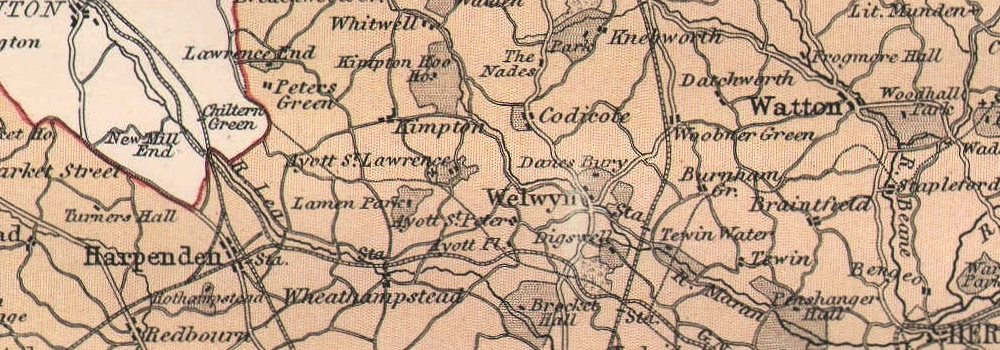 Railways Roads Hertfordshire County Map Britannica 9th Edition 1898 Old