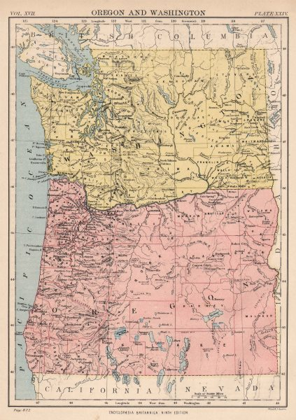 Associate Product OREGON & WASHINGTON. State map showing counties. Seattle Tacoma 1898 old