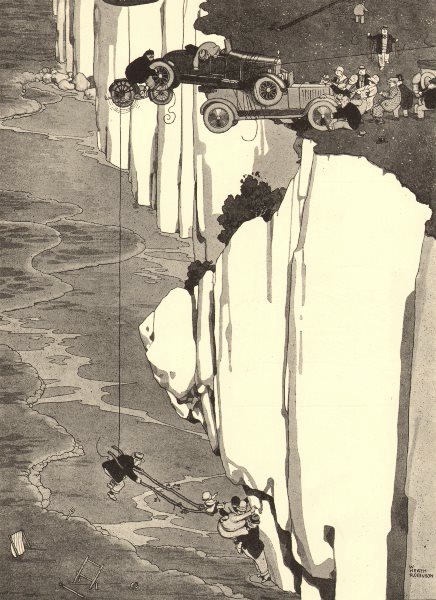Associate Product HEATH ROBINSON. Plucky attempt to rescue a family overtaken by the tide 1935