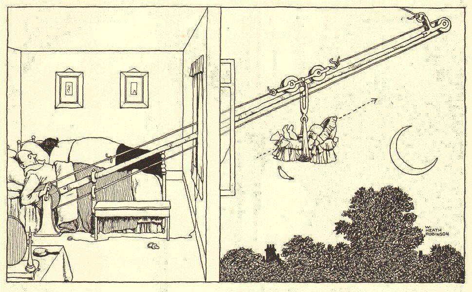 HEATH ROBINSON. How to get a good night's sleep despite a crying baby 1935