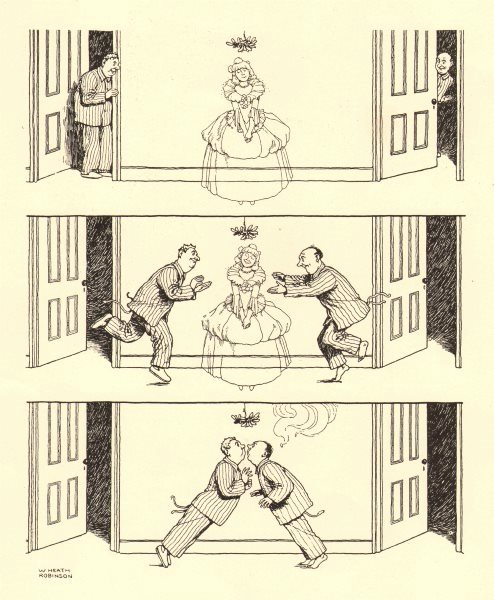 Associate Product HEATH ROBINSON. The Ghost. 2 men attracted to ghost. Romance. Kiss 1935 print