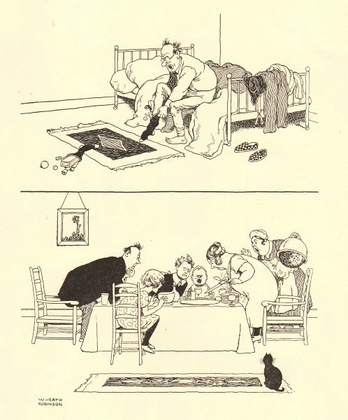 Associate Product HEATH ROBINSON. Spoilt Christmases. Putting on stocking. Pudding vanished 1935