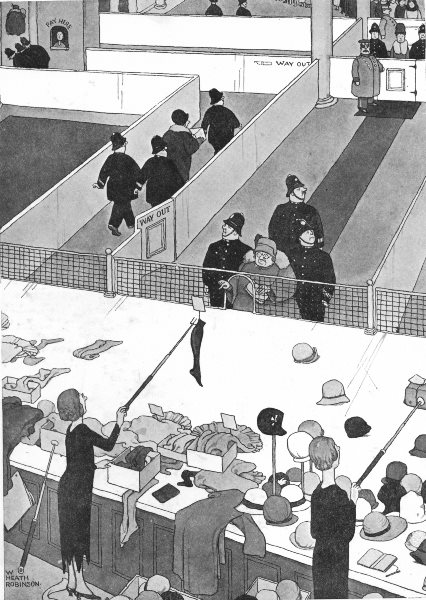 Associate Product HEATH ROBINSON. Method for orderly sales & protection of retail assistants 1935