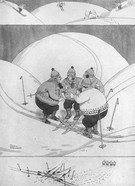 Associate Product HEATH ROBINSON. The only way out of an Awkward Predicament. Skiing 1935 print