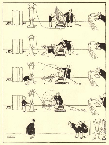 Associate Product HEATH ROBINSON. The new measuring chair now in use by most West-End tailors 1935