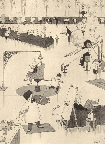 Associate Product HEATH ROBINSON. Busy morning in the studio of a fashionable hairdresser 1935