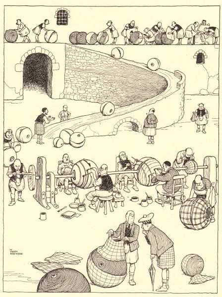 Associate Product HEATH ROBINSON. Putting tartans on kilts in a kilt-works in the Highlands 1935