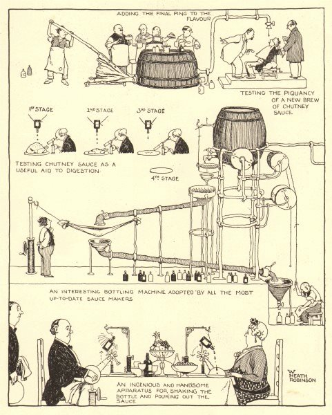 Associate Product HEATH ROBINSON. Chutney sauce notes. Manufacturing & eating the sauce 1935