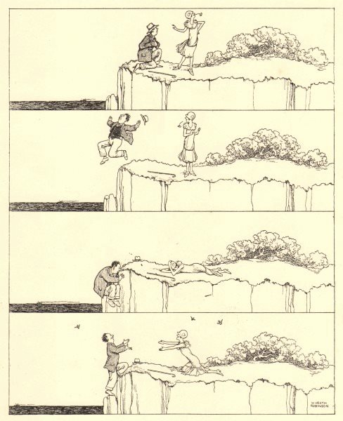 Associate Product HEATH ROBINSON. Coquette. Romance. Jumping off a cliff for sympathy 1935 print