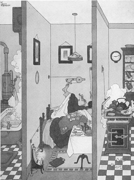 HEATH ROBINSON. Flat life. Ingenious devices for use on chilly mornings 1935