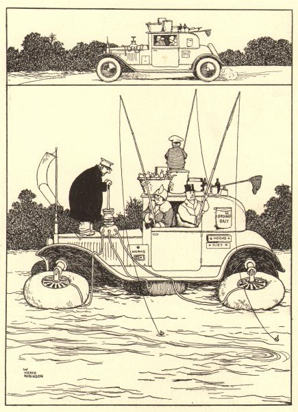 Associate Product HEATH ROBINSON. Water Coupe. Car for the convenience of anglers. Fishing 1935