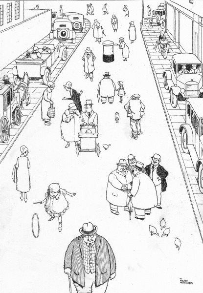 Associate Product HEATH ROBINSON. New road regulations for the safety  of pedestrians 1935 print