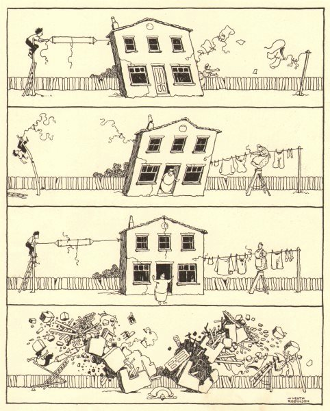 Associate Product HEATH ROBINSON. Fixing up the new aerial. TV wireless radio. 1935 old print