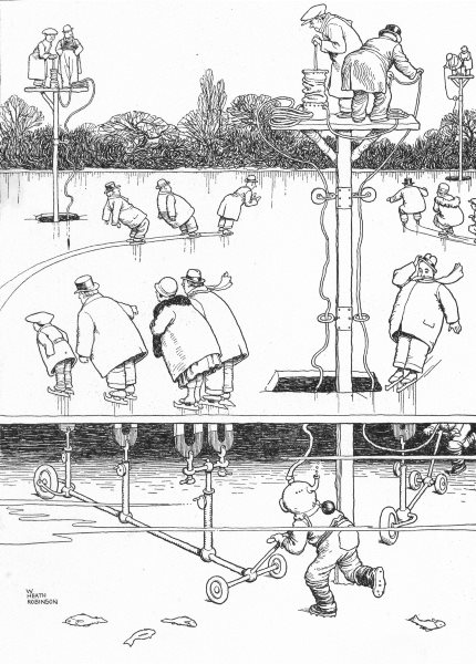 HEATH ROBINSON. Magnetic aids to skaters to be installed in London parks 1935