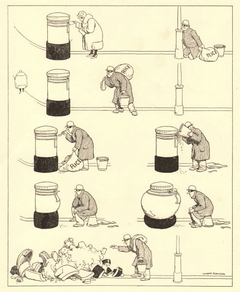 Associate Product HEATH ROBINSON. Low cunning of a common picture-postcard thief 1935 old print