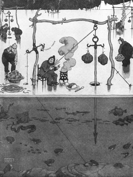 Associate Product HEATH ROBINSON. Clam-spearing in the frozen north. Fishing thru hole in ice 1935