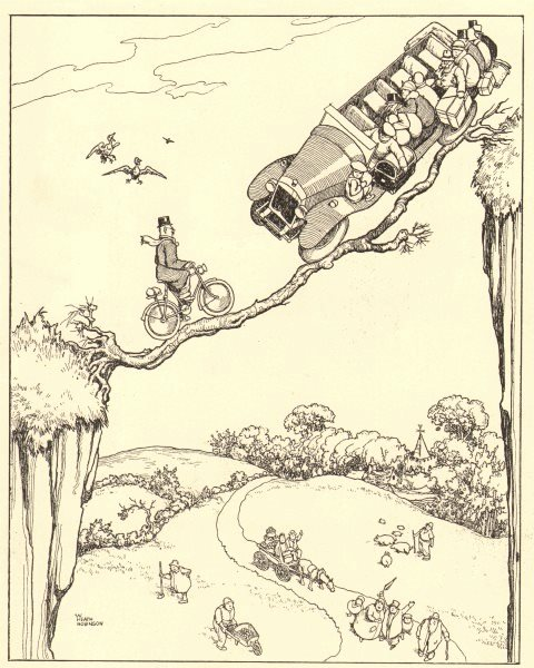 Associate Product HEATH ROBINSON. An awkward predicament. Rescuing motorists with bicycle 1935