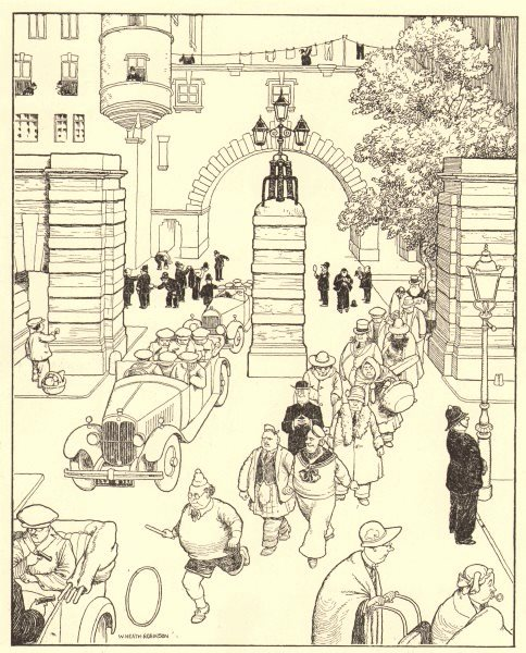 Associate Product HEATH ROBINSON. Early morning at Scotland Yard. Police 1935 old vintage print