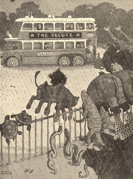Associate Product HEATH ROBINSON. History repeats itself. Panic at Whipsnade zoo due to rain 1935