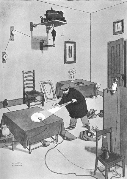 HEATH ROBINSON. A surprise packet for the cat burglar. Trap for robber 1935
